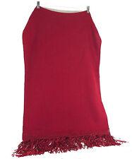 Alpaca Wool Red Handmade Large Shawl Wrap Scarf Blanket Shiny Fringe Bolivia