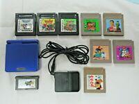 L688 Nintendo Gameboy Advance SP console Azurite Blue & 9 game Adapter Japan GBA