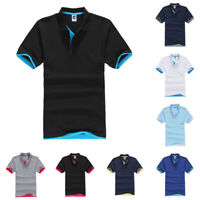 Mens Classic Short Sleeve Lapel T Shirts Plain Summer Golf Sport Casual Tee Tops