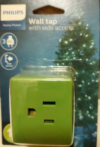 3 Outlet w/ side access 2-Prong Philips AC Power Wall Tap, UL Christmas NEW