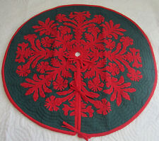 """Hawaiian Quilt 100% Hand Quilted/Hand Appliqued Christmas Tree Skirt 42"""""""