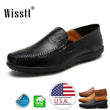 Mens Leather Casual Slip On Shoes Flat Breathable Antiskid Loafers Moccasins USA