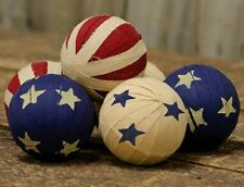 "Americana Rag Balls Set of 6 Bowl Fillers Patriotic Red White Blue 2.5"" Diameter"