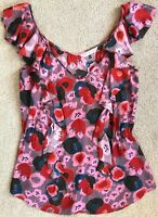 REBECCA TAYLOR WATERCOLOR FLORAL RUFFLE SLEEVELESS BLOUSE NWOT! $278 6