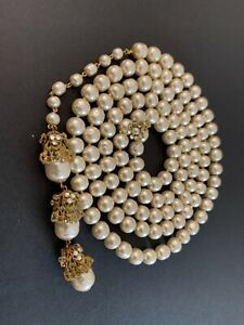Sign Miriam Haskell Huge pearl Baroque Rhinestone Necklace Jewelry