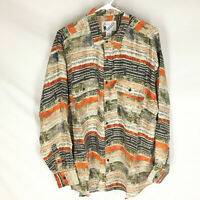 GOOUCH Mens Large Long Sleeve Shirt Silk Button Up 90s Abstract Art VTG NEW