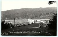 VTG Postcard Real Photo RPPC California CA Big Lagoon Bridge HWY 101 Car ArtR B1