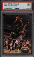 (2) 1992 Stadium Club Members Choice Shaquille O'Neal ROOKIE RC #201 PSA 9 MINT