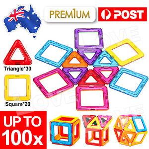 50/100pcs Magnetic Building Blocks Set 3D Tiles DIY Toys Gift Kids Educational