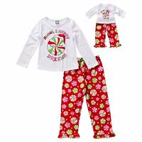 """Girl and Doll Matching Pajamas Peppermint 4-14 Dollie & Me fit 18"""" American Girl"""