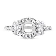 6x6mm Cushion Semi Mount Diamond Ring 18K White Gold 3 Stone Engagement Setting