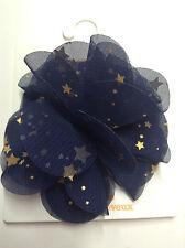 Gymboree Flight of Fancy Gold STAR Organza Poof Blue NWT Barrette Snap Clip Hair