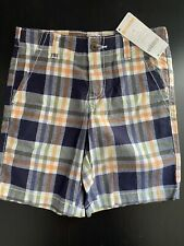 NWT Gymboree Boys 5T Plaid Shorts Adjust Waist Navy Orange Green