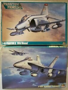 HASEGAWA 1 48 (X2) F-4G PHANTOM II WILD WEASEL & F-18A HORNET US NAVY + BONUS