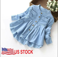 Toddler Kid Baby Girls Denim Ruched Long Sleeve T-Shirts Tops Clothing Blouse US