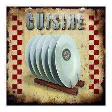 Plaque décorative Assiettes en métal murale de cuisine rétro vintage Class Déco