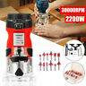 110V 1/4'' Electric Hand Trimmer Wood Routers Joiners + 12Pcs Router Bits Set