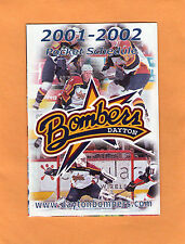 2001-02 ECHL HOCKEY DAYTON BOMBERS GAME POCKET SCHEDULE