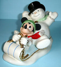 Lenox Disney A Snowy Day With Mickey Mouse & Snowman Racing On A Taboggan New