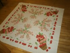 Vintage Fab Cotton Kitchen Tablecloth Cherries & Blossoms 52x52 new Simtex terry