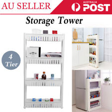 4-Tier Slide Out Storage Tower Folding Rolling Castor Kitchen Trolley Spice Rack