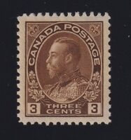 Canada Sc #108 (1918) 3c brown Admiral Wet Printing Mint XF NH