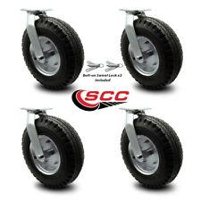 12 Inch Black Pneumatic Wheel Caster Set 4 Swivel With 2 Swivel Locks Scc