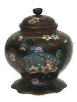 Antique Spherical Compressed Cloisoné Vase With Cover