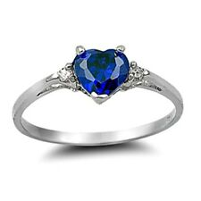 .925 Sterling Silver Ring size 8 CZ Heart cut Blue Sapphire Midi Ladies New x27