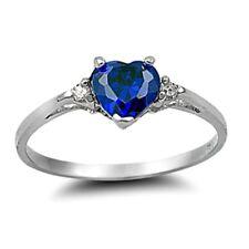 .925 Sterling Silver Ring size 3 CZ Heart cut Blue Sapphire Midi Kids New x27