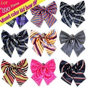 (200 Pcs/Lot) Kid Children Adjustable Bow Tie Stripe Plaid Butterfly Collars