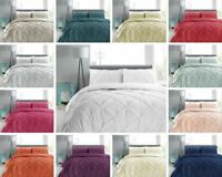 100% Cotton T180 Pintuck Embellished Quilt Duvet Cover Bedding Set & Pillowcase