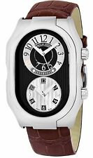 Philip Stein Men's Signature Black Dial Dual Time Swiss Quartz Watch 12BGRABR