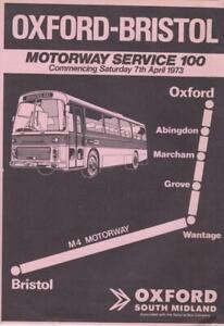 OXFORD SOUTH MIDLAND ROUTE 100 BUS TIMETABLE LFT APR 1973