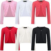 Girls Long Sleeve Open Front Bolero Shrug Kids Jacket Cardigan Top 3-14 Y