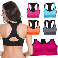 Seamless Strappy Racerback Padded Sports Bra Padded Workout Yoga Tank Top M02263