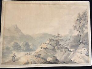 Welsh Mountain Landscape Watercolour 1787 Monogrammed P S (?)