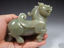 Fine Vintage Chinese Hetian Nephrite Jade Pixiu Beast Antique Statue