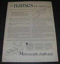 "Magazine Print Ad 1940 A B Dick Mimeograph Duplicator ""In names we trust violin."