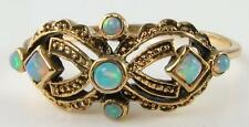 "LOVELY 9K 9CT GOLD ART DECO INS "" MASK "" ALL FIERY OPAL RING FREE RESIZE"