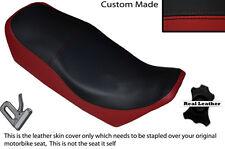 BLACK & D RED CUSTOM FITS YAMAHA XJ 750 SECA 81-83 LEATHER DUAL SHORT SEAT COVER