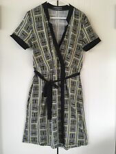 Womens Basque Jersey Black White Yellow Geo Print Belted Faux Wrap Dress Size 14