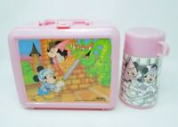 Vintage Disney Mickey and Minnie Mouse Lunch Box w/ Thermos Dragon Aladdin