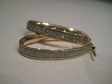 YELLOW GOLD HOOP EARRINGS GLITTER MOONDUST DIAMOND EFFECT 9CT OVAL