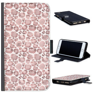 Pink Leopard Print Phone Case For iPhone 13/12/Pro, Spot PU Leather Flip Cover