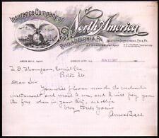 1902 Gibson City IL - North America Insurance Co Philadelphia Pa - Letter Head
