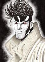 9 x 12 Original Gambit Art Penciled & Inked By Riley Reyer