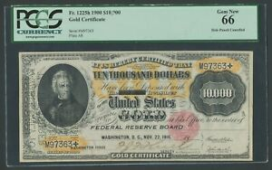 FR1225H $10,000 1900 GOLD CERTIFICATE PCGS 66 HIGHEST GRADED WLM8438C