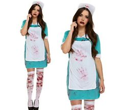 HALLOWEEN WOMENS BLOODY NURSE OUTFIT FANCY DRESS COSTUME PARTY SCARY + STOCKINGS