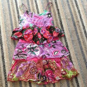 Girls 100% Indian Cotton Pretty Multi Coloured Layered Summer Dress Age 11-12